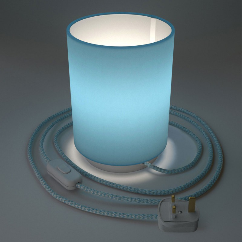 Posaluce in metal with Sky Blue Cilindro lampshade, complete with fabric cable, switch and UK plug