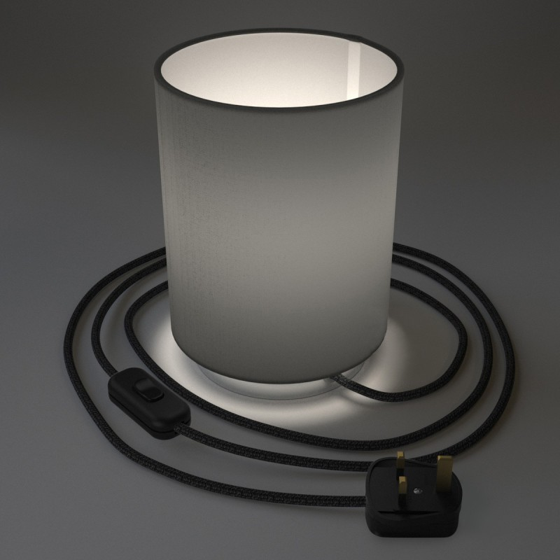 Posaluce in metal with Penguin Electra Cilindro lampshade, complete with fabric cable, switch and UK plug