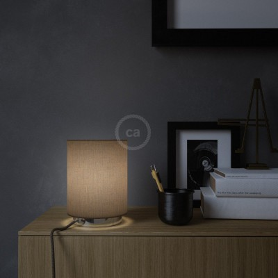 Posaluce in metal with Brown Camelot Cilindro lampshade, complete with fabric cable, switch and UK plug