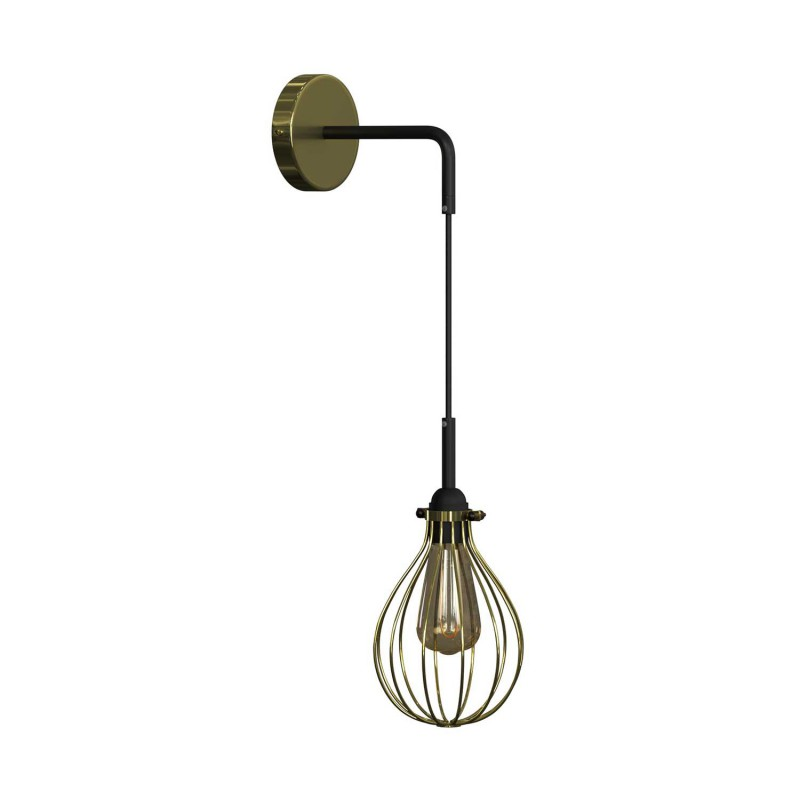 Fermaluce Metal wall light with pendant Drop lampshade and bent extension
