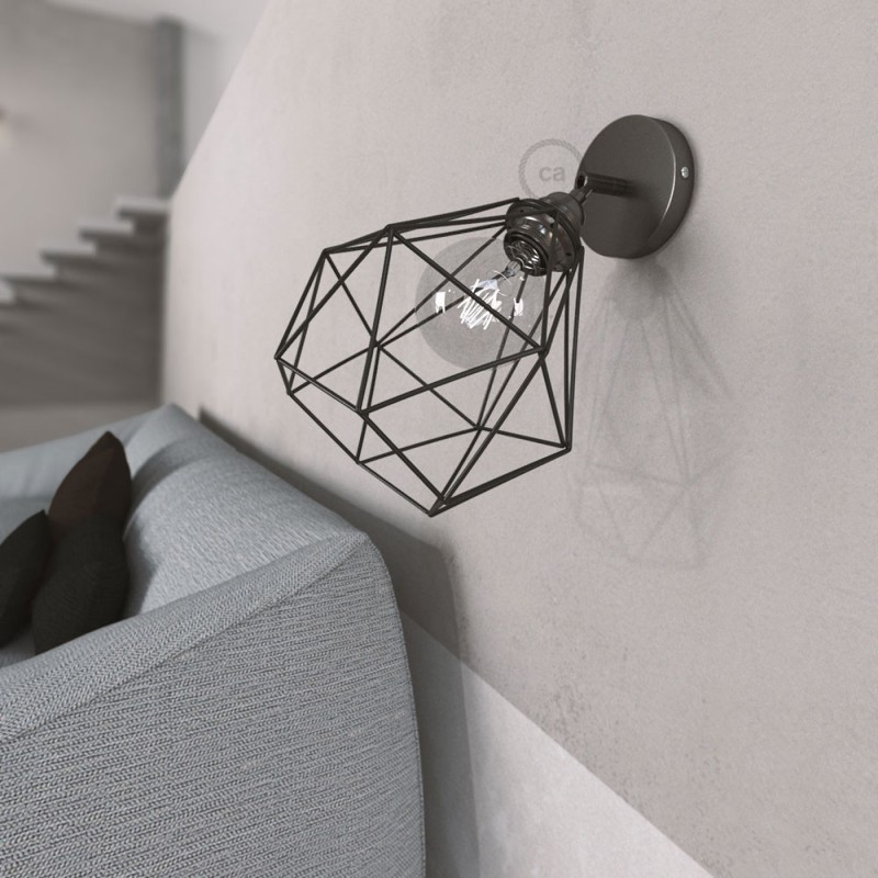Fermaluce Metal 90°, the adjustable metal wall flush light with Diamond lampshade