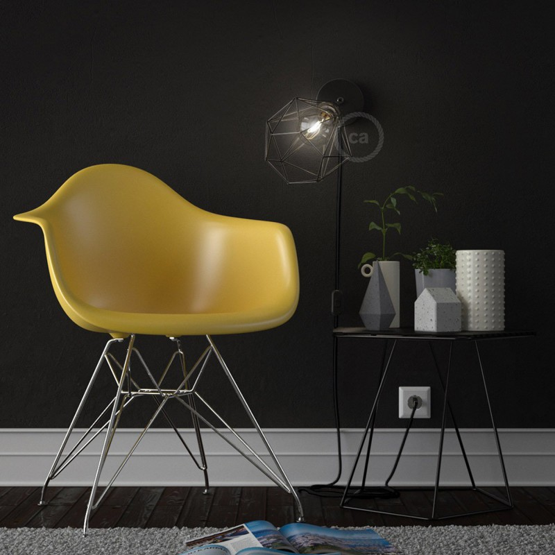 Spostaluce Metal 90°, the adjustable light source with E27 threaded lamp holder, fabric cable and side holes