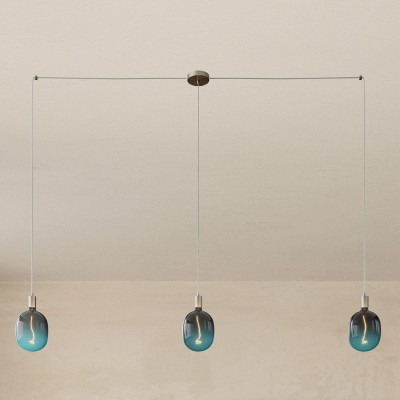 Spider - 3-light multi-pendant Made in Italy lamp featuring fabric cable and metal finishes