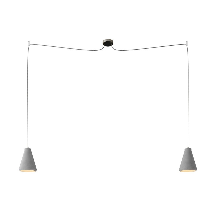 Spider - 2-light multi-pendant Made in Italy lamp featuring fabric cable and concrete lampshade