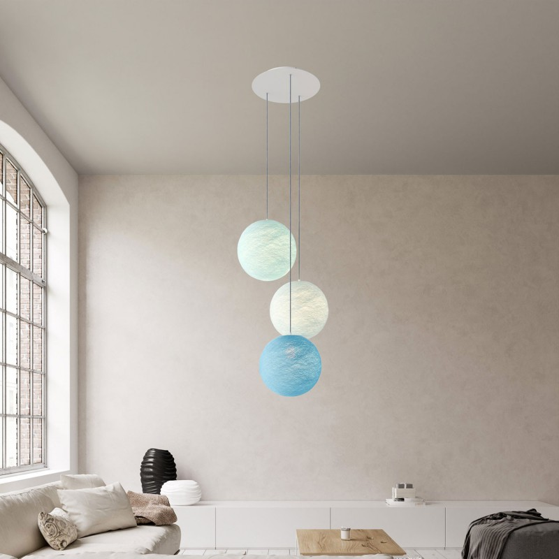 3-light pendant lamp with 400 mm round XXL Rose-One, featuring fabric cable and Sphere M lampshade