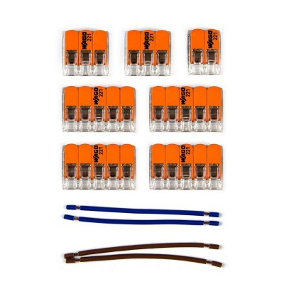 WAGO connector kit compatible with 2x cable for 8 hole ceiling rose