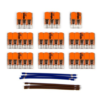 WAGO connector kit compatible with 2x cable for 11 hole ceiling rose