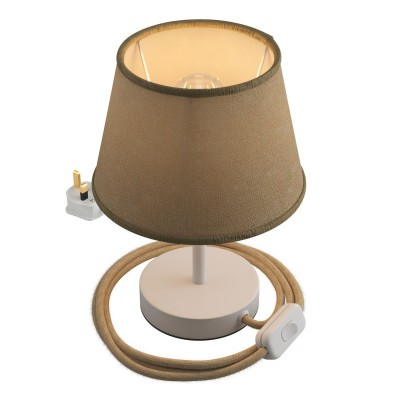 Alzaluce with Impero lampshade, metal table lamp with english plug, cable and switch