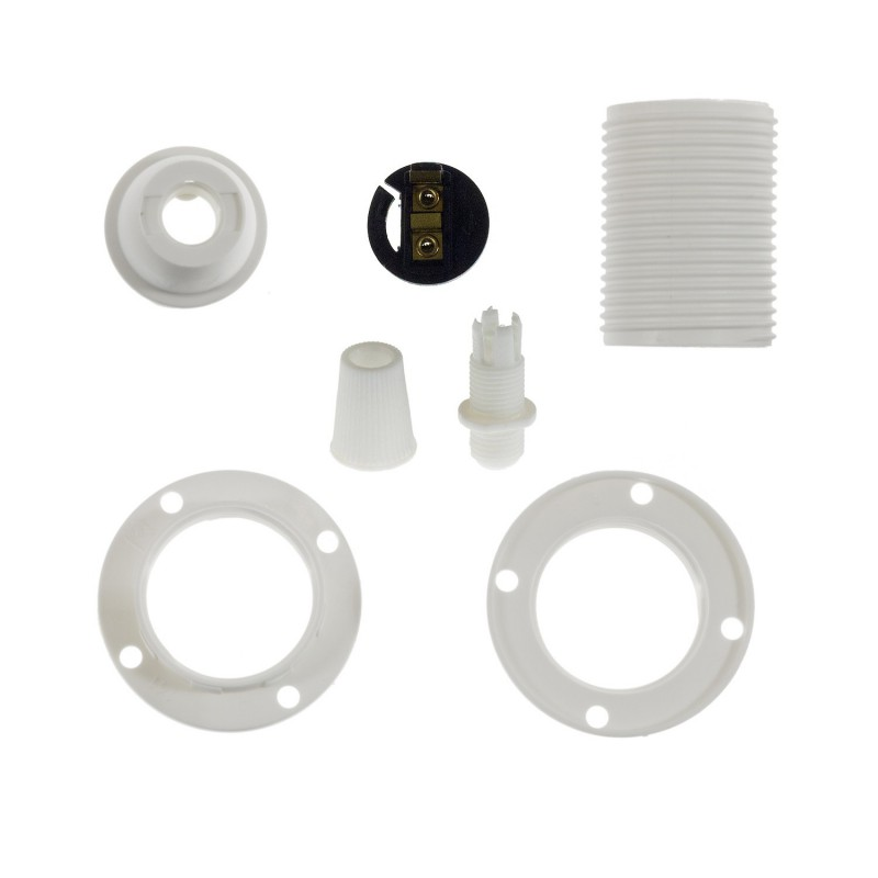 Double ferrule thermoplastic E14 lamp holder kit for lampshade
