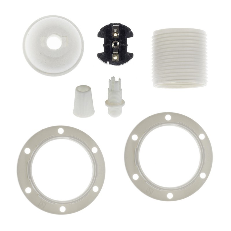 Double ferrule thermoplastic E27 lamp holder kit for lampshade