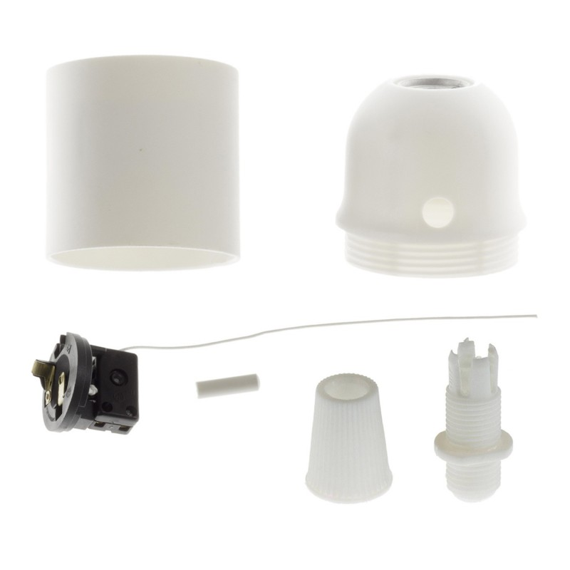 Thermoplastic E27 lamp holder kit with pull switch