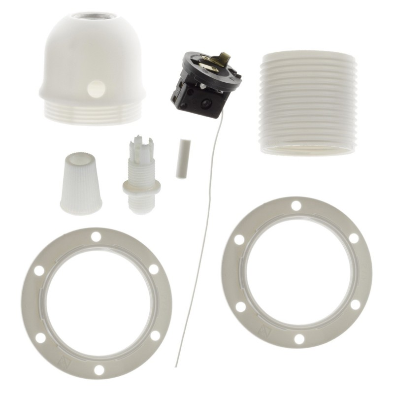 Double ferrule thermoplastic E27 lamp holder kit for lampshade with pull switch