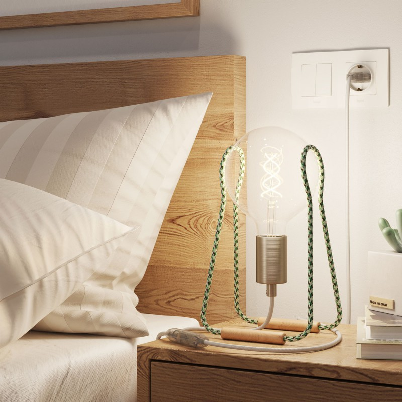 Taché Metal, table lamp complete with a fabric cable, switch and two-pin plug
