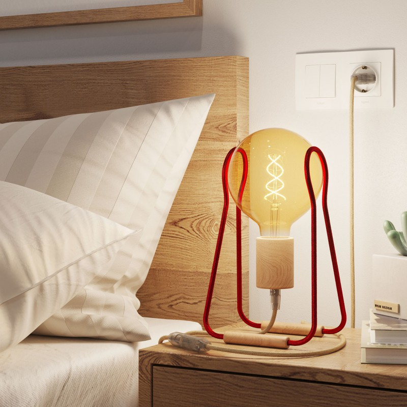 Taché Wood, table lamp complete with a fabric cable, switch and two-pin plug