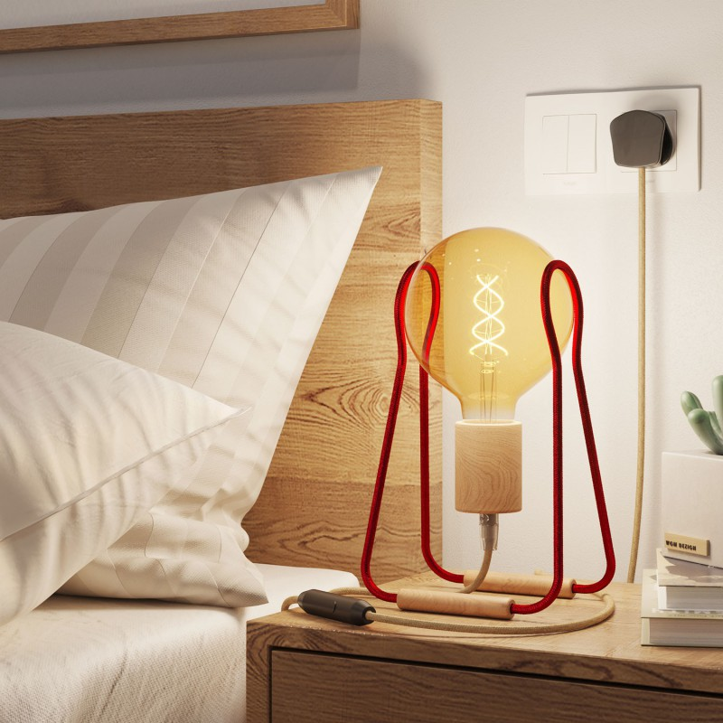 Taché Wood, table lamp complete with a fabric cable, switch and UK plug