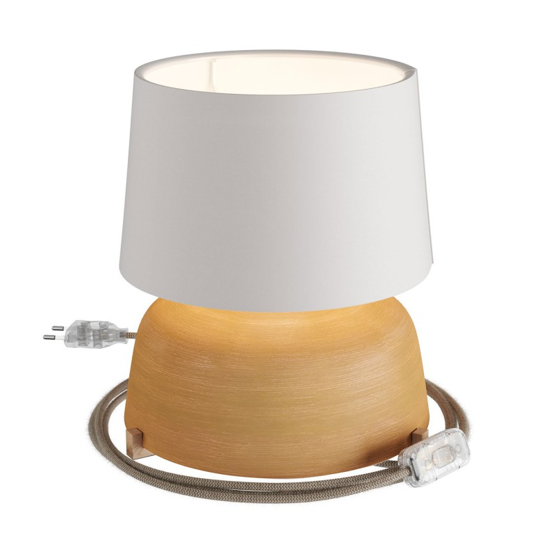 Coppa ceramic table lamp with Athena shade, complete with textile cable, switch and 2-pin plug