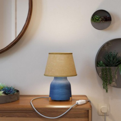 Vaso ceramic table lamp with Impero shade, complete with textile cable, switch and UK plug