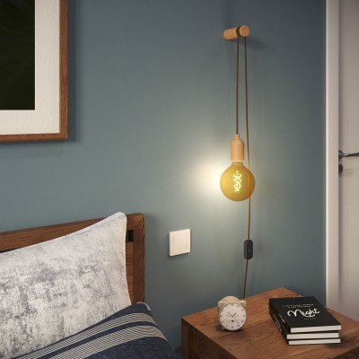 Snake, wiring with wooden lamp holder, UK plug and switch complete with Rolé wooden cable clip