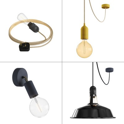 Pro Eiva System outdoor kit: Eiva Snake, suspension Eiva Pastel, Fermaluce wall light and pendant Eiva with Harbour lampshade