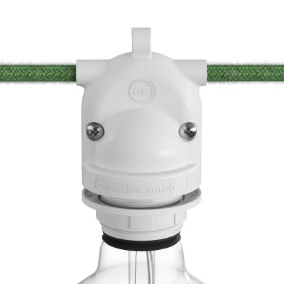 Eiva-2, 2-way outdoor lamp holder E27 and IP65 rating