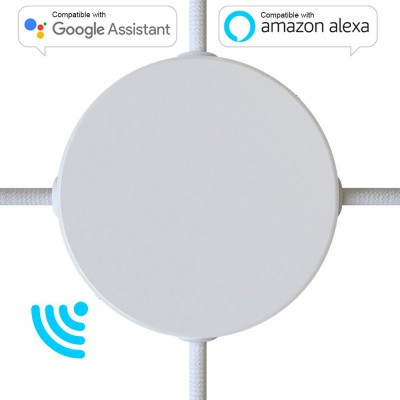 SMART cylindrical metal 4-side hole ceiling rose kit (junction box) - compatible with voice assistants