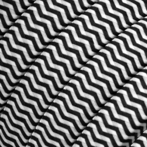 Electric cable for String Lights, covered by Rayon fabric ZigZag White-Black CZ04