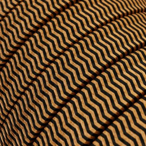 Electric cable for String Lights, covered by Rayon fabric ZigZag Black-Whiskey CZ22