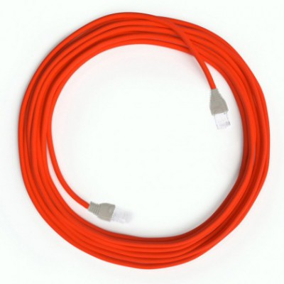LAN Ethernet Cable Cat 5e with RJ45 plugs - Rayon Fabric RF15 Neon Orange