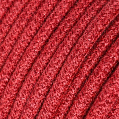 Round electric Cable covered in Plain Cherry Red RN24 Jute