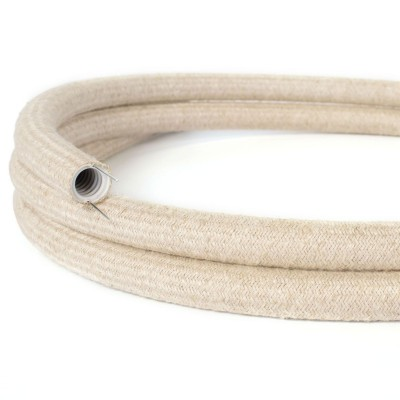 Creative-Tube flexible conduit, Neutral Natural Linen RN01 fabric covering, diameter 20 mm