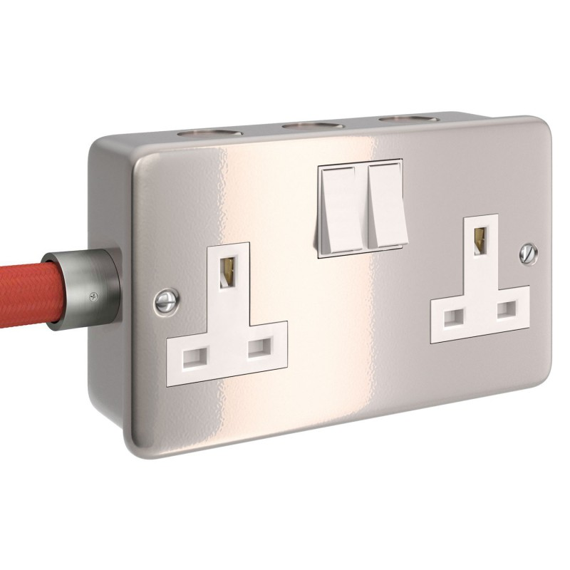 Metal clad box with double UK socket and double switch for Creative-Tube
